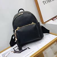 Рюкзак женский городской из экокожи с ушками для девушек (черный), фото 1