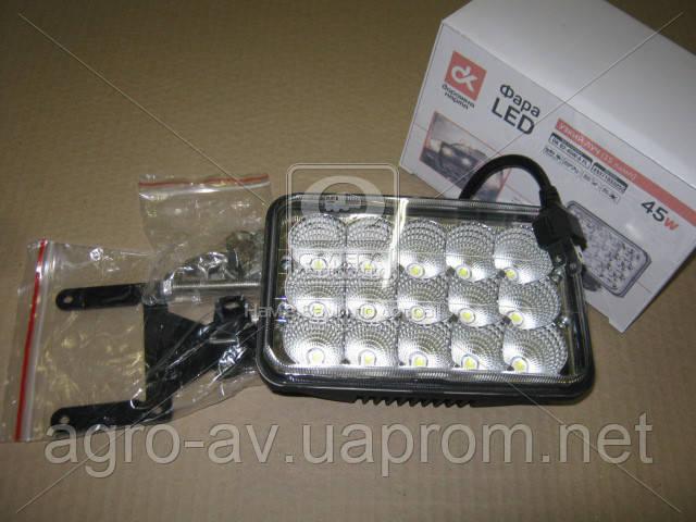 Фара LED (DK B2-45W-A FL) прямоугольная 45W, 15 ламп, 110*170мм, широкий луч <ДК>