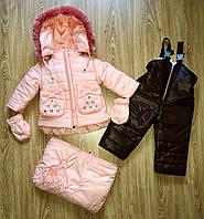 Детский зимний комбинезон для девочки,мешок,мех под овчину , фото 1