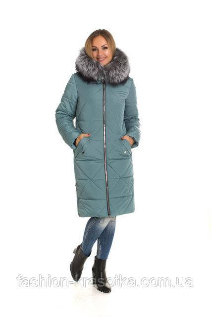 Шикарный женский зимний пуховик  с натуральным мехом чернобурки в размерах 42-60