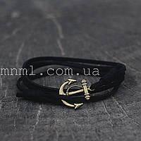 Кожаный браслет на руку с якорем черный