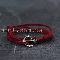 Кожаный браслет на руку с якорем красный