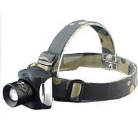 Налобный фонарик т-13, светодиодный, cree xpe q5, дальность 150 м, наклон головы, крепление на голову, zoom