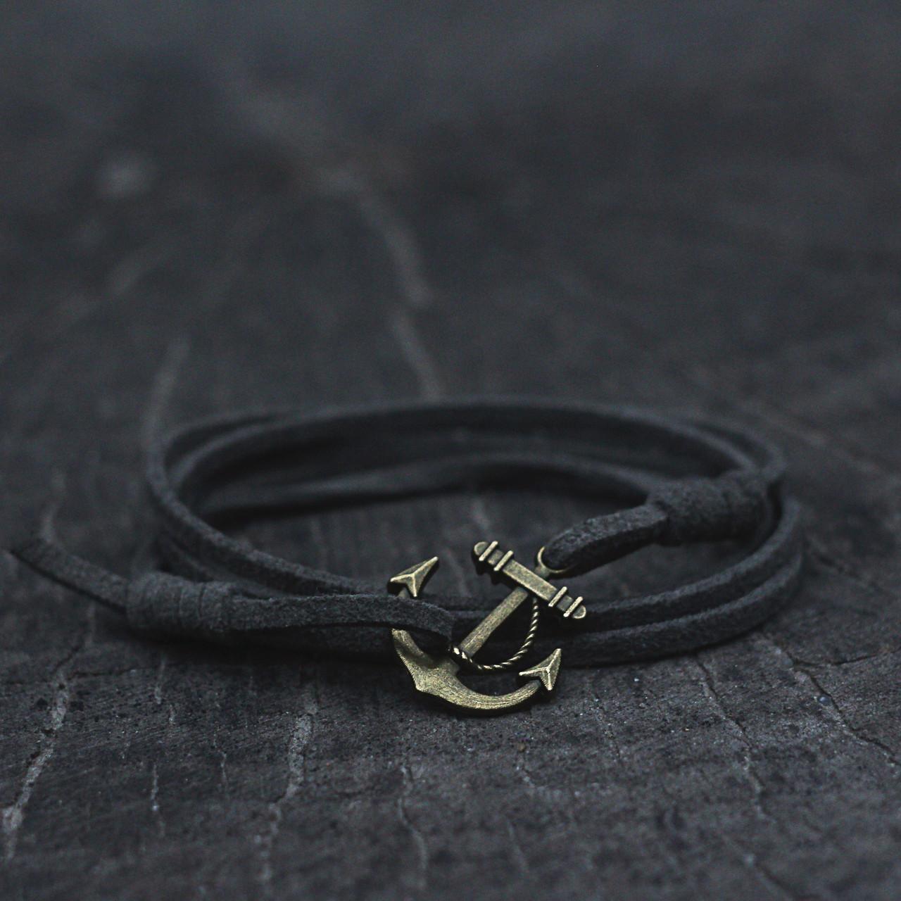 Кожаный браслет на руку с якорем серый