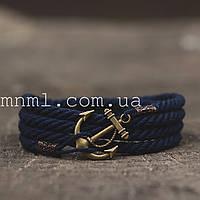 Браслет на руку с якорем темно-синий