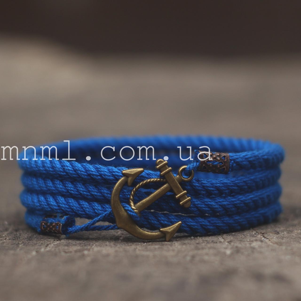 Браслет на руку с якорем синий