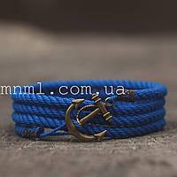 Браслет на руку с якорем синий, фото 1