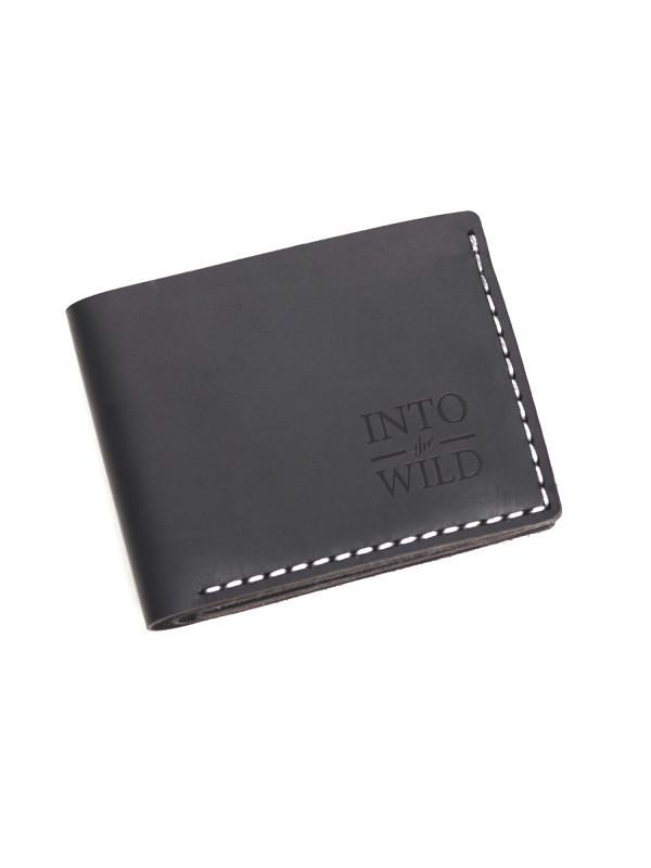 Кожаный черный мужской кошелек Black