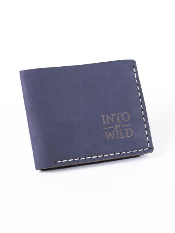 Кожаный темно-синий мужской кошелек