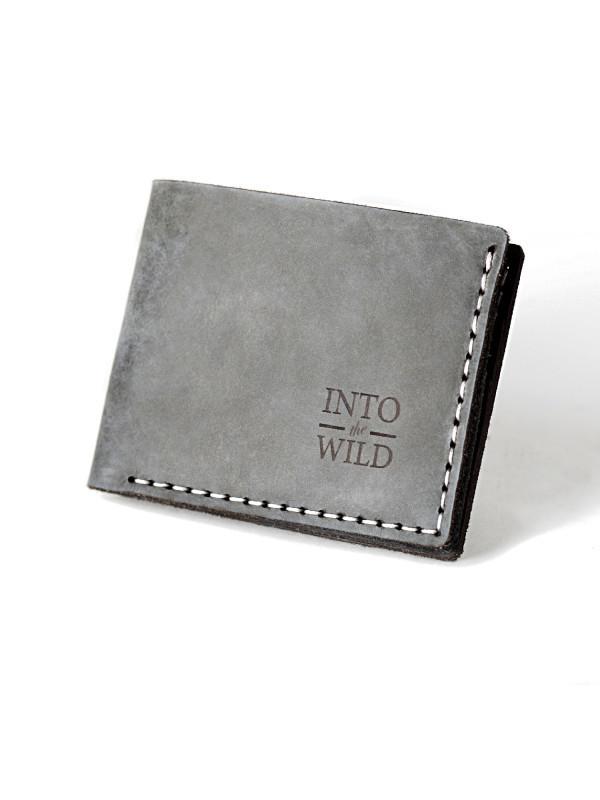 Кожаный серый мужской кошелек