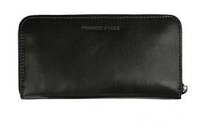Портмоне на блискавці Grande Pelle Serpente 200х105 мм глянцева шкіра чорний
