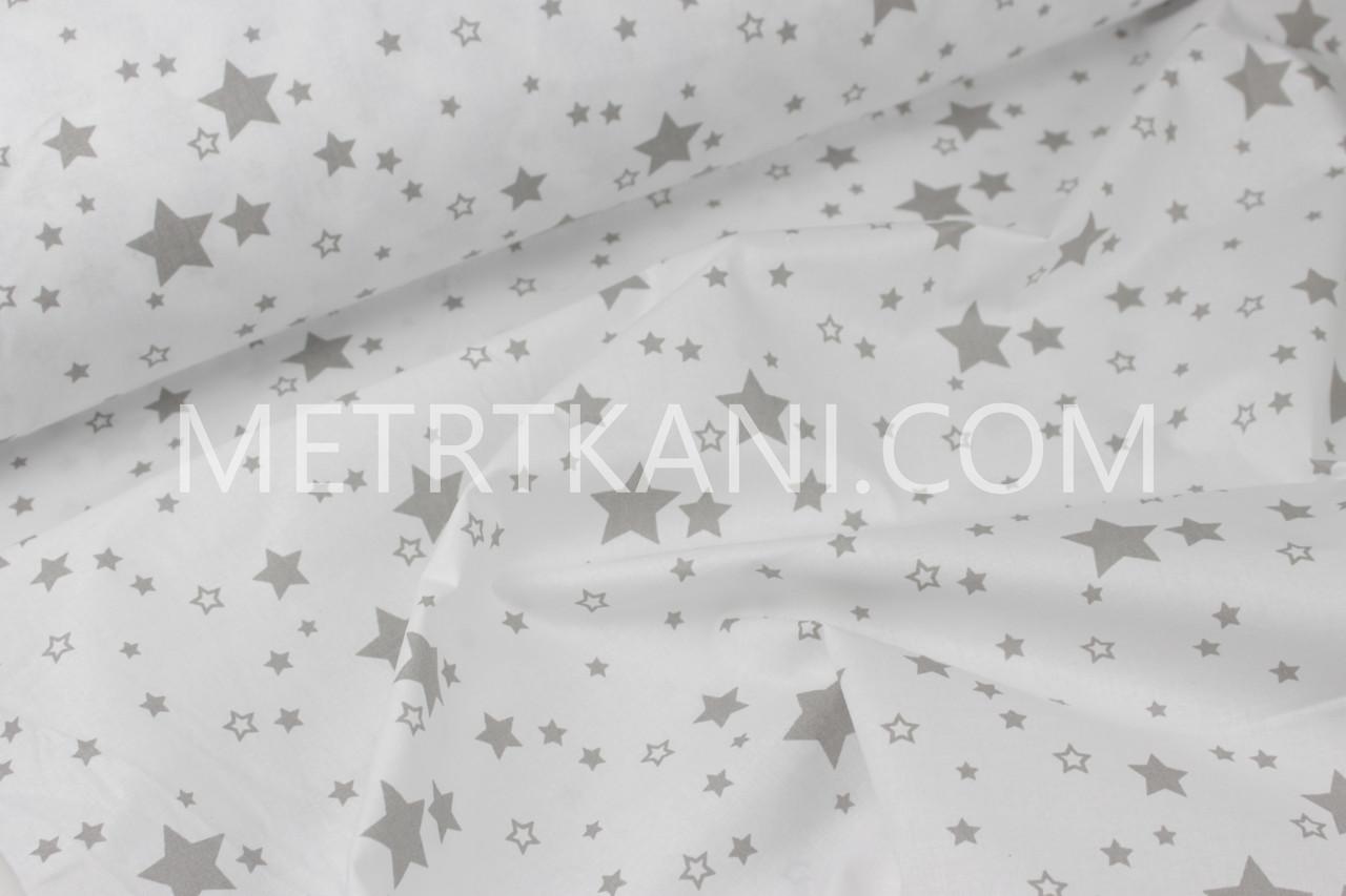 """Ткань хлопковая  звездопад """"Спейс """"  серый на белом фоне  №1188"""