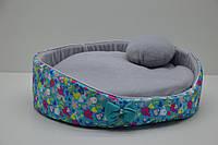 Лежак для котов и собак Звездочка бирюзовый№0 d-300 h-135 мм, фото 1