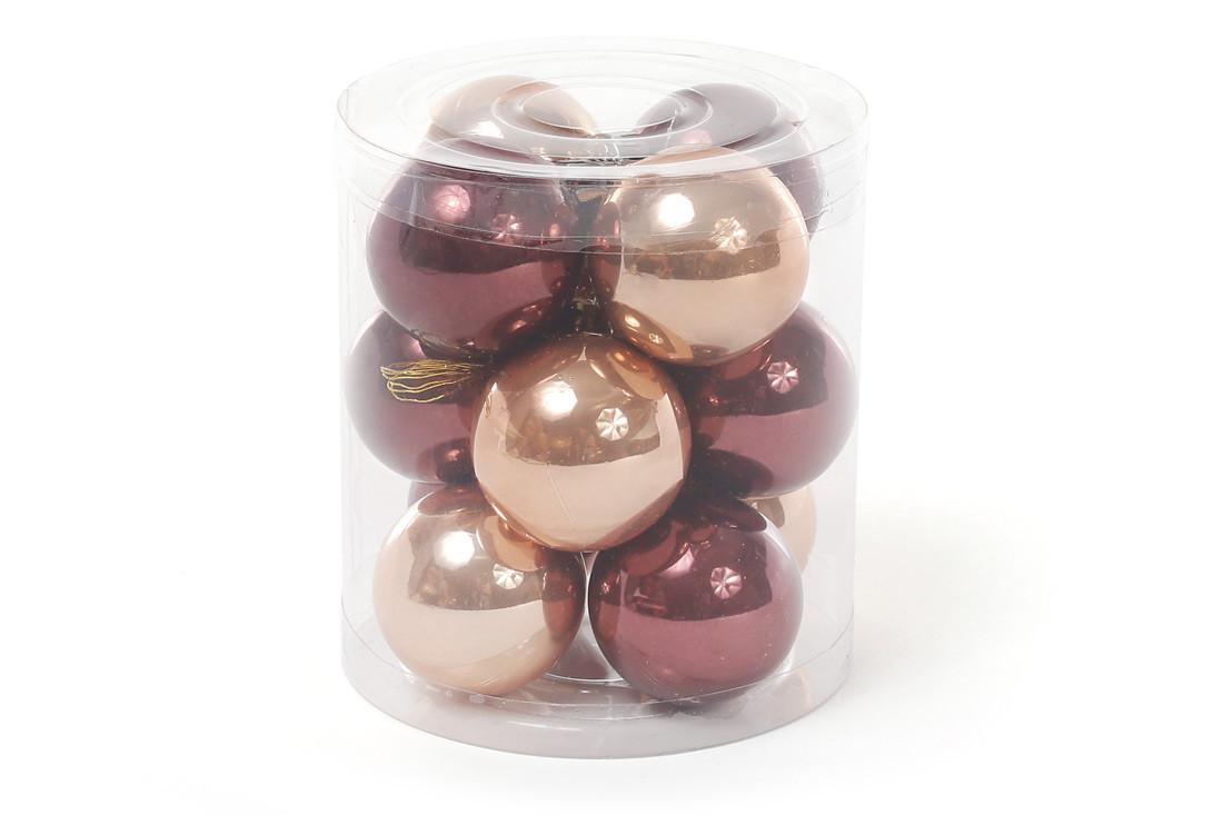 """Набор елочных шаров 4см, """"Капучино"""", 12шт: микс двух цветов, по 6шт в каждом цвете, перламутр BonaDi 147-001"""