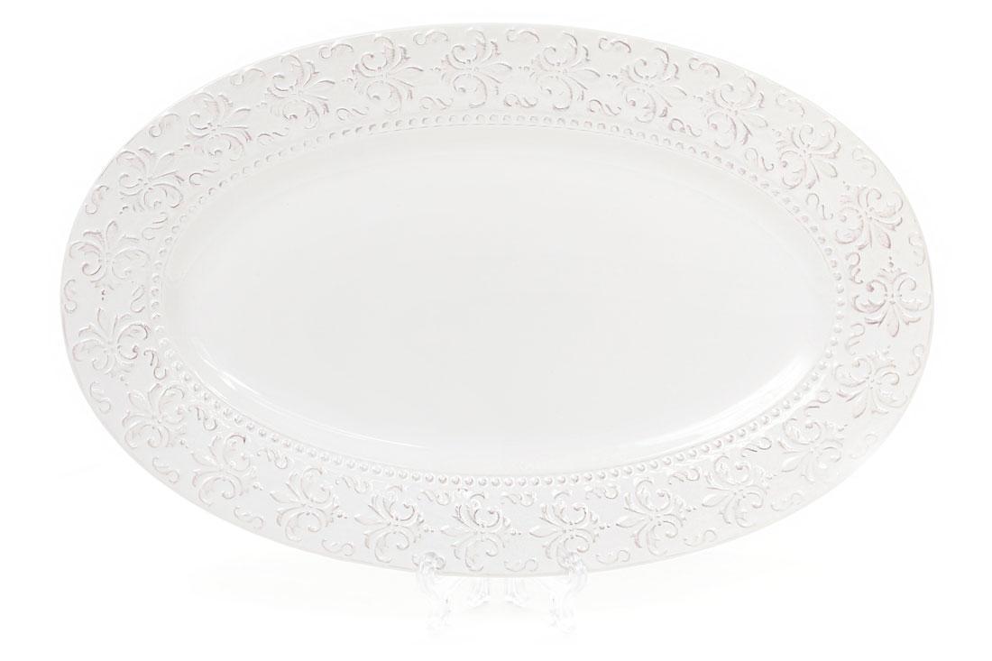 Блюдо керамическое овальное Королевская лилия 33см, цвет - белый BonaDi 545-217