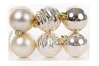 Набор елочных шаров 6см, цвет - светлое золото, 6 шт: мат, глянец, глянец с рельефом - по 2 шт BonaDi 147-354