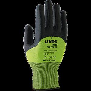 Защитные перчатки RUVEX-C500WET ZB, универсальные рабочие, черно-зеленого цвета. UVEX