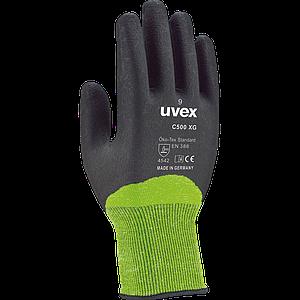 Защитные перчатки RUVEX-C500XG ZB ультралегкие, универсальные рабочие, черно-зеленого цвета. UVEX