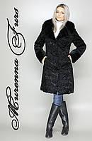 Женская шуба из искусственного каракуля, черный каракуль № 6