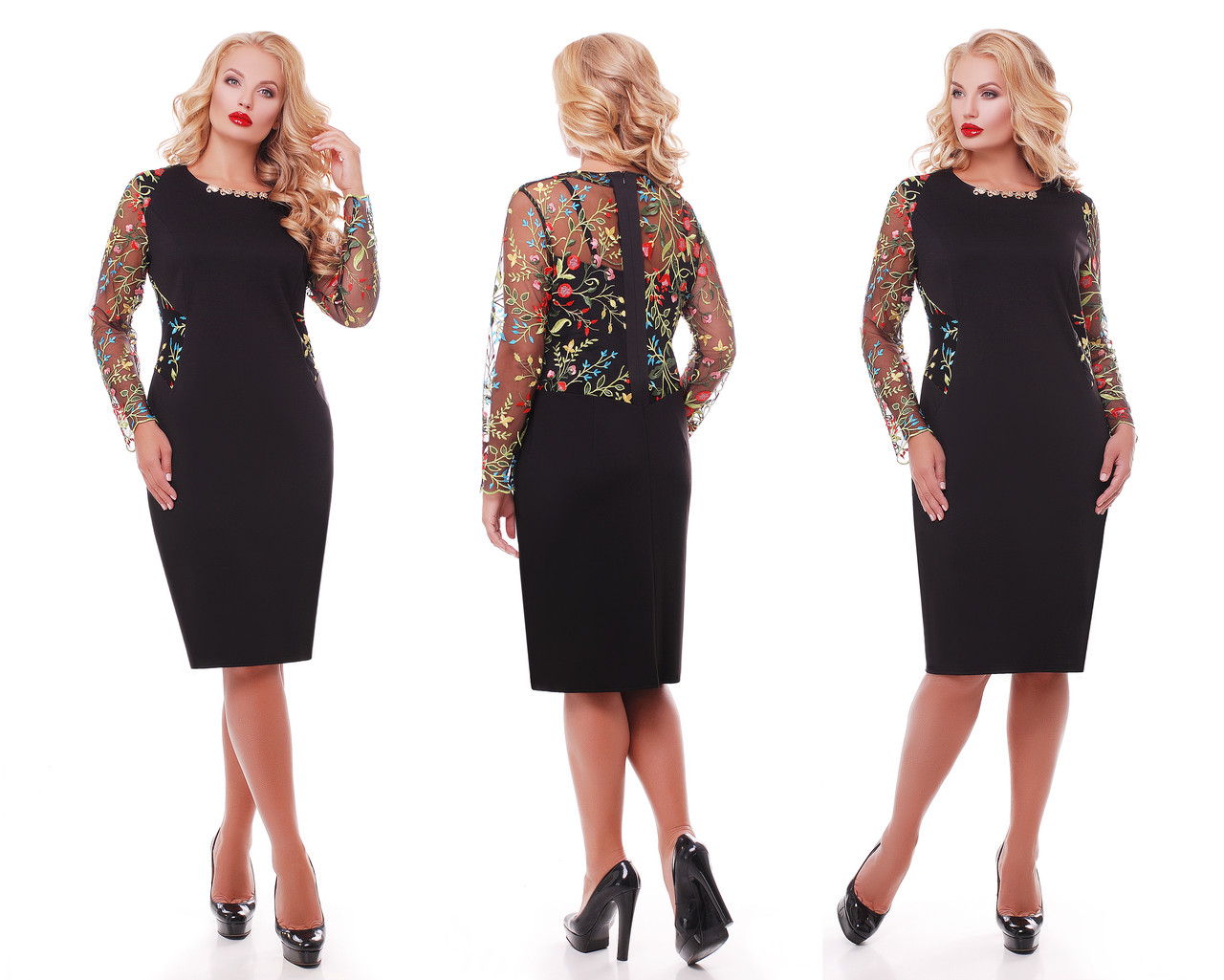 Нарядное  платье Адель черное разноцвет