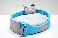 Лежак для собак и котов Комфорт лето голубой 320х430х100 мм №1, фото 1