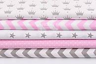 """Набор тканей 50*50 см из 5 шт """"Звёзды, короны, горошек, зигзаг"""", цвет серо-розовый"""