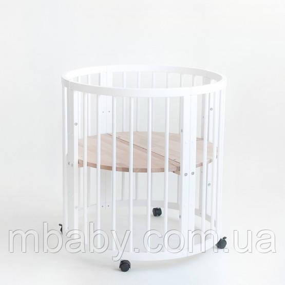 Кроватка овальная 7 в 1 + Укачивание (Цвет белый ) Аналог Stokke Sleepi (Премиум)