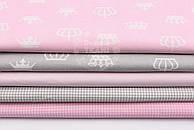 """Набор тканей 50*50 см из 5 шт """"Короны и клеточка"""", цвет серо-розовый"""