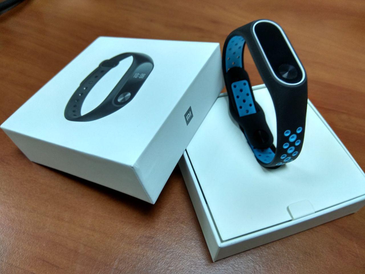 Фитнес-браслет Xiaomi Mi Band 2 (Black) ОРИГИНАЛ + ремешок (Black/blue Nike) Гарантия 3 месяца