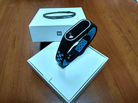 Фитнес-браслет Xiaomi Mi Band 2 (Black) ОРИГИНАЛ + ремешок (Black/blue Nike) Гарантия 3 месяца, фото 2
