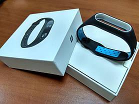 Фитнес-браслет Xiaomi Mi Band 2 (Black) ОРИГИНАЛ + ремешок (Black/blue Nike) Гарантия 3 месяца, фото 3