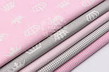 """Набор тканей 50*50 см из 5 шт """"Короны и клеточка"""", цвет серо-розовый, фото 2"""