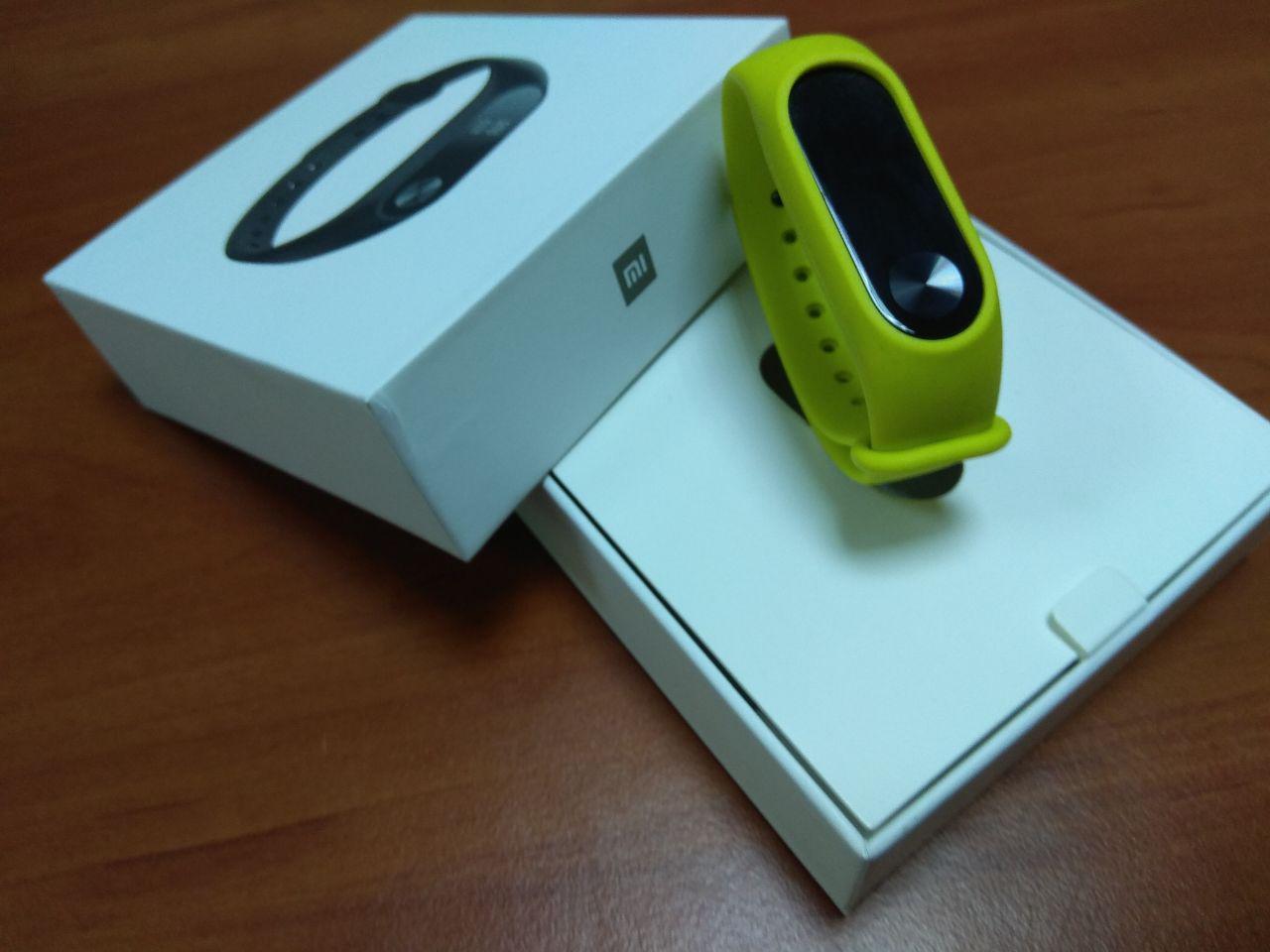 Фитнес-браслет Xiaomi Mi Band 2 (Black) ОРИГИНАЛ + ремешок (Green) Гарантия 3 месяца