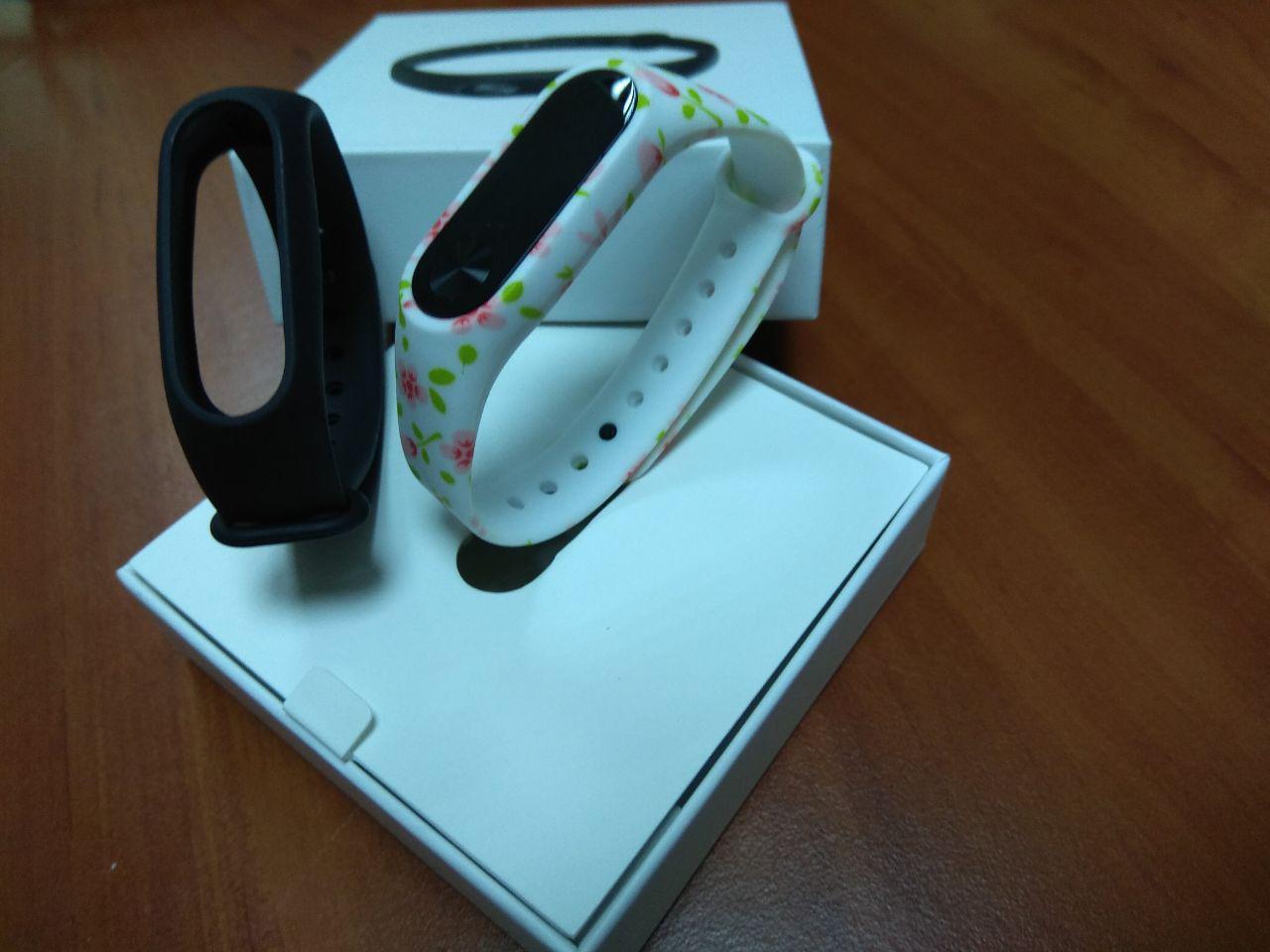 Фитнес-браслет Xiaomi Mi Band 2 (Black) ОРИГИНАЛ + ремешок (White Rose) Гарантия 3 месяца