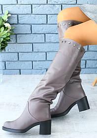 Сапоги женские на каблуке (зима), материал - натуральная кожа + овчина (евро), цвет - серый