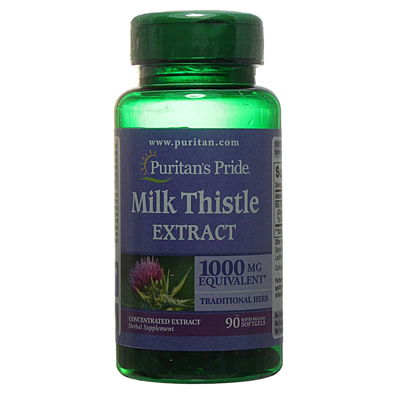 Расторопша экстракт (Силумарин), Milk Thistle 1000 mg (Silymarin), Puritan's Pride, 90 капсул