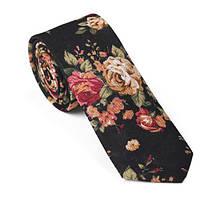 Галстук льняной черный с цветочным принтом
