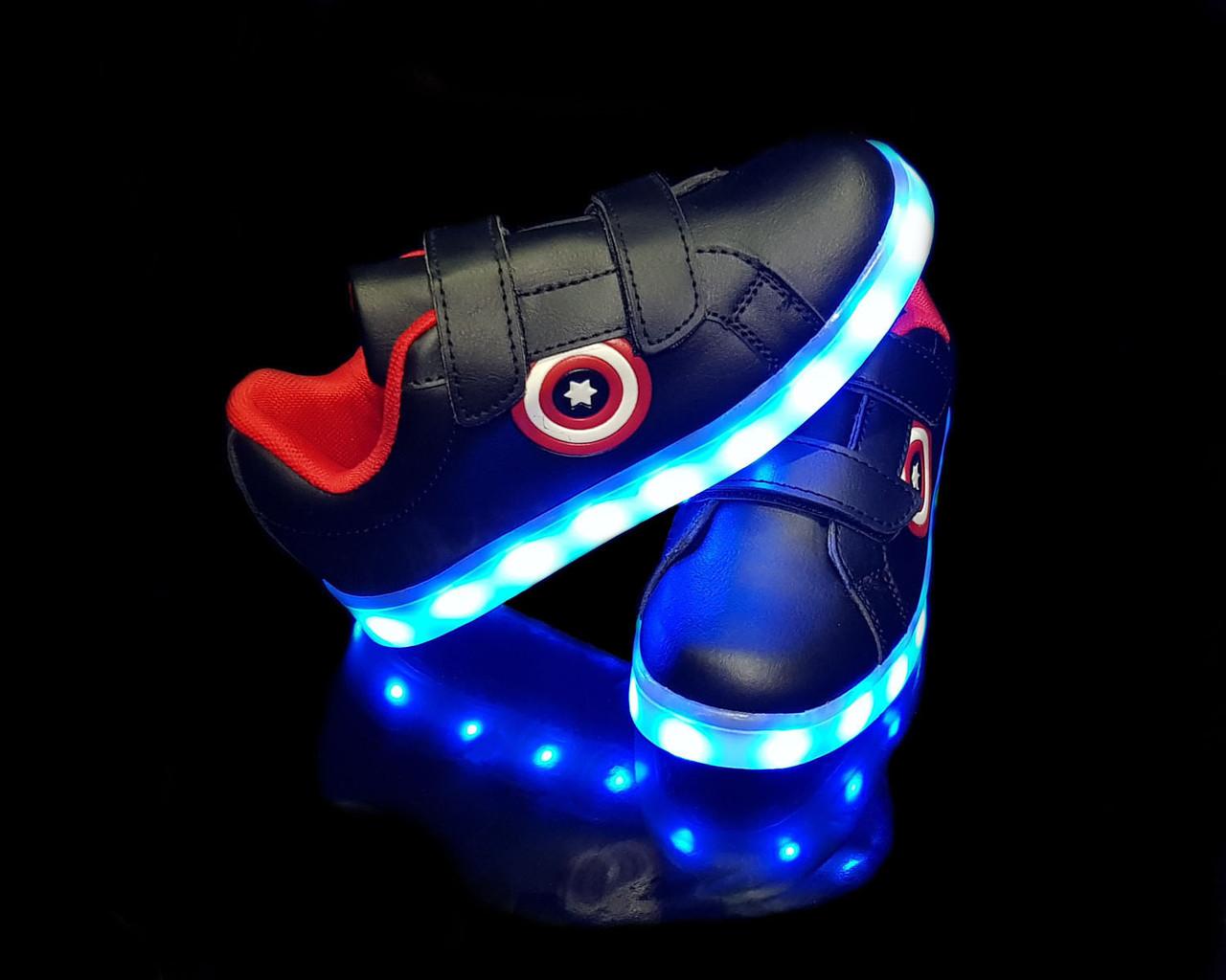Кроссовки с LED подсветкой детские Black 702