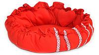 Лежак матрас для котов и собак круглый Вышиванка красный, фото 1