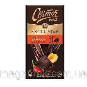 Шоколад Світоч чорний Exclusive з перцем чилі і абрикосом 51% 100г, фото 2
