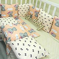 Комплект в кроватку «Девочка» 8 бортиков с пледом