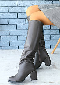 Сапоги женские на каблуке (зима), материал - натуральная кожа + овчина (евро), цвет - темно-серый
