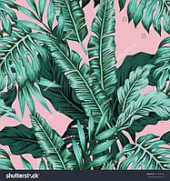 Фотообои листья розовый фон
