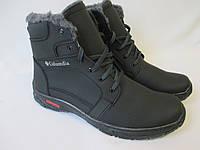 Теплые мужские ботинки из кожзама., фото 1