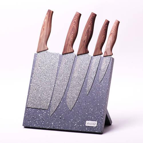 Набор ножей 6 предметов из нержавеющей стали на подставке с мраморным покрытием (5 ножей+подставка)
