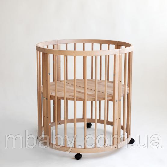 Кроватка овальная 7 в 1 (Цвет натуральный  ) сУкачиванием. Аналог Stokke Sleepi (премиум)