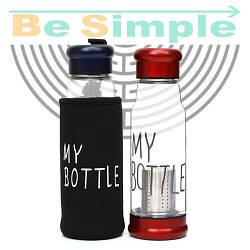 Стеклянный термос бутылка 420 мл MY BOTTLE с чехлом