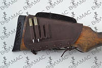 Патронташ на приклад кожа гидрофобная с повышением для нарезных патронов, фото 1
