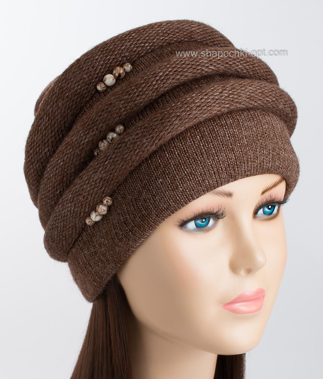 Теплая женская шапка Каприз шоколадного цвета
