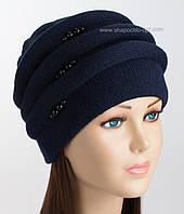 Фактурная вязаная шапка Каприз темно-синего цвета